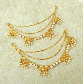 Lalso Designer Bahubali Style White Pearl Copper Brass Ear Chain Kaan Chain - LEC13_MT