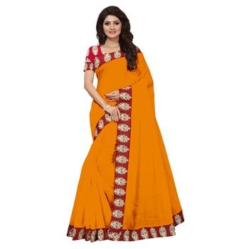 orange plain Chanderi Cotton Kalamkari  saree with blouse