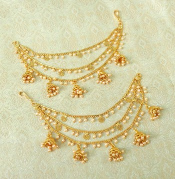 Lalso Designer Bahubali Style Golden Copper Brass Ear Chain Kaan Chain - LEC12_LCT