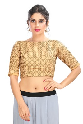 GOLD EMBROIDERED RAW SILK PADDED READYMADE DESIGNER SAREE BLOUSE