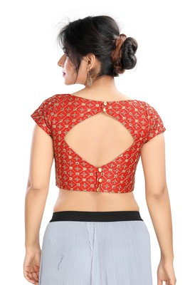 RED EMBROIDERED SILK DESIGNER READYMADE DESIGNER SAREE BLOUSE