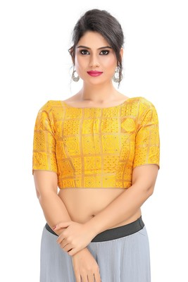 YELLOW BROCADE READYMADE DESIGNER SAREE BLOUSE WITH TRADITIONAL PRINTS