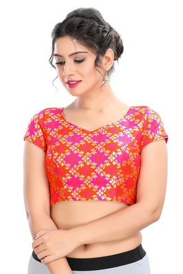 MULTICOLOR BROCADE PADDED READYMADE BACK OPEN SAREE BLOUSE