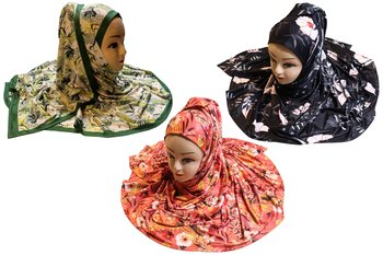 Justkartit Women's Organic Jersey Stretchable Printed Hijab Scarf (Pack Of 3)