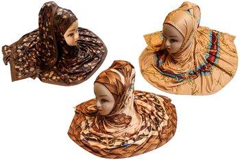 Justkartit Women's Casual Wear Organic Jersey Stretchable Printed Hijab Scarf Dupatta (Pack Of 3)