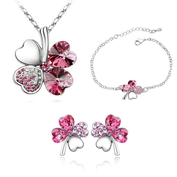 Pink crystal jewellery-combo