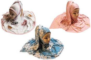 Justkartit Women's Organic Jersey Stretchable Material Occasion Wear Printed Hijab Scarf Dupatta (Pack Of 3)