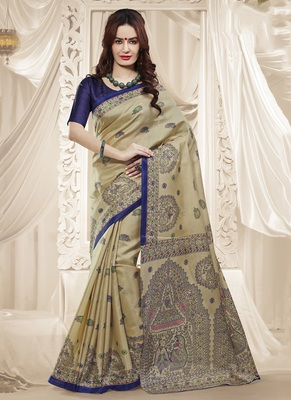 Beige printed art silk blend saree with blouse