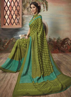 Olive printed art silk blend saree with blouse