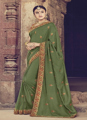 Olive embroidered silk blend saree with blouse