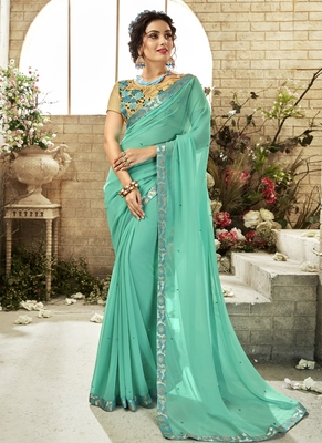 Sea green plain georgette saree with blouse