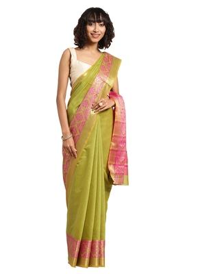 Kimisha Women's Green Jacquard Cotton Silk Saree With Designer Pallu