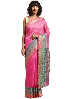 Blissta Women's Pink Woven Cotton Silk Saree with Blouse Piece