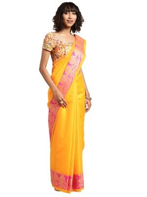 Kimisha Women's Yellow Jacquard Cotton Silk Saree With Designer Pallu