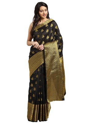 Kimisha Women's Black Jacquard Banarasi Silk Saree With Rich Pallu