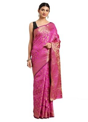 Kimisha Women's Pink Jacquard Banarasi Silk Saree With Rich Pallu