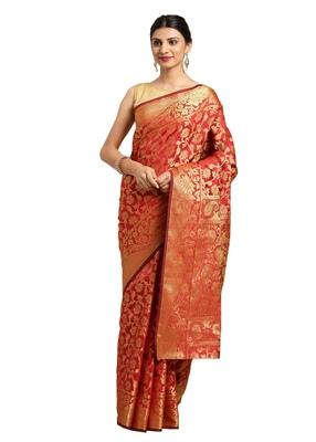 Red floral print woven banarasi silk saree with blouse Piece