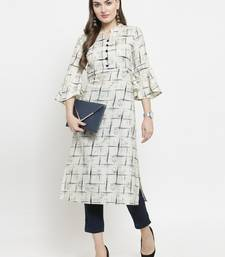 Off-white woven cotton kurtas-and-kurtis