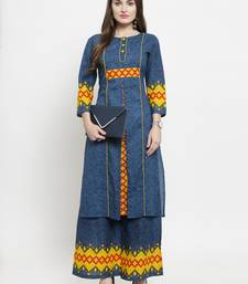 Blue woven cotton kurtas-and-kurtis