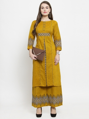 Yellow woven cotton kurtas-and-kurtis