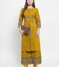 Indibelle Yellow woven cotton kurtas-and-kurtis