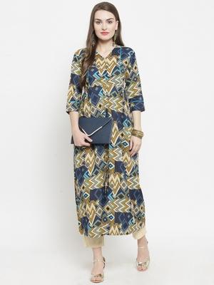 Indibelle Blue woven cotton kurtas-and-kurtis