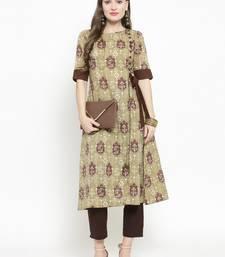 Indibelle Brown woven cotton kurtas-and-kurtis