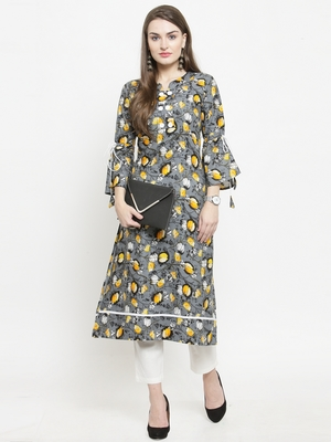 Yellow woven rayon kurtas-and-kurtis