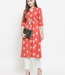 Indibelle Pink woven cotton kurtas-and-kurtis