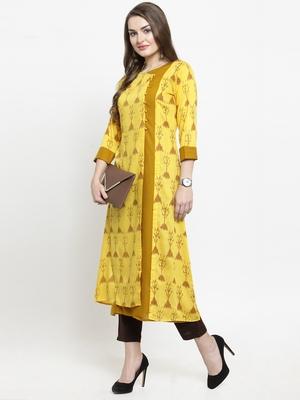 Indibelle Yellow woven rayon kurtas-and-kurtis