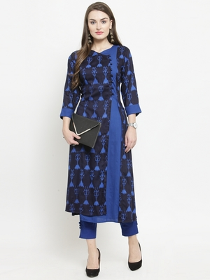 Indibelle Blue woven rayon kurtas-and-kurtis
