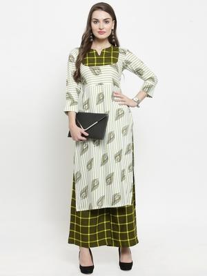 Green woven rayon kurtas-and-kurtis