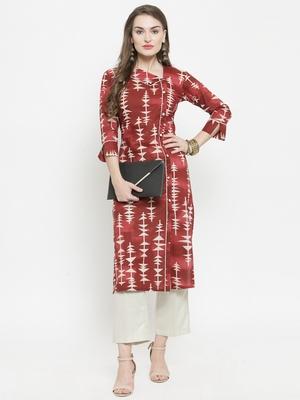 Maroon woven cotton kurtas-and-kurtis