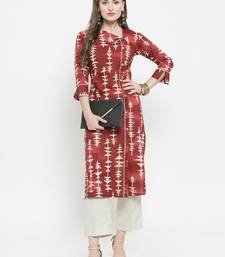 Maroon woven cotton kurtas-and-kurtis