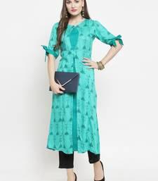 Indibelle Turquoise woven rayon kurtas-and-kurtis