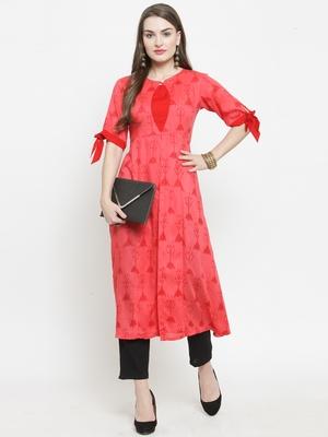 Pink woven rayon kurtas-and-kurtis