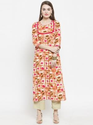 Indibelle Pink woven rayon kurtas-and-kurtis
