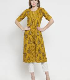 Mustard woven rayon kurtas-and-kurtis