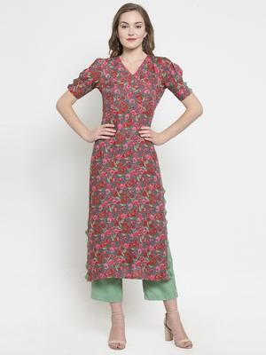 Indibelle Grey woven rayon kurtas-and-kurtis