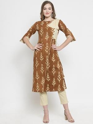 Brown woven cotton kurtas-and-kurtis