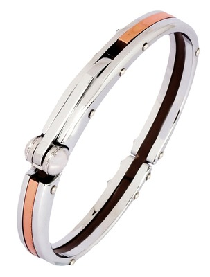 Mens Copper Plated Stainless Steel Oval Openable Kada Bracelet