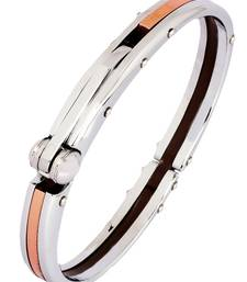 Buy Mens Copper Plated Stainless Steel Oval Openable Kada Bracelet Bracelet online