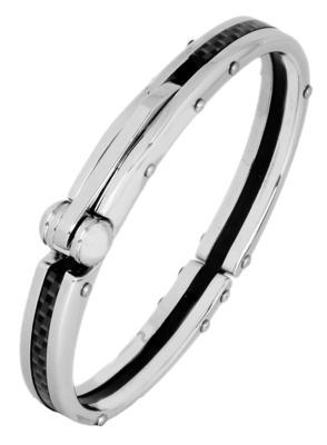 Mens Black Stainless Steel Oval Openable Kada Bracelet