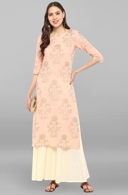 Janasya Women's Light Pink Cotton Kurta With Palazzo