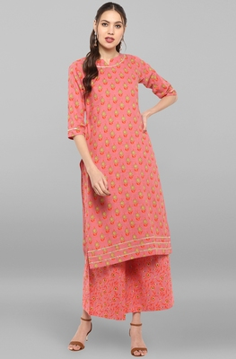 Janasya Women's Pink Cotton Slub Kurta With Palazzo