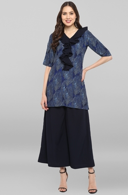Janasya Women's Blue Poly Crepe Ruffle Short Kurta With Palazzo