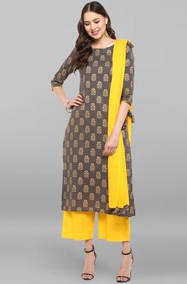 Janasya Women's Grey Cotton Kurta With Pant And Dupatta
