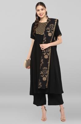Janasya Women's Black Rayon Kurta With Pant And Dupatta