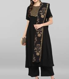 Janasya Women's Black Rayon Kurta With Pant And Dupatta