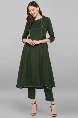 Janasya Women's Dark Green Rayon Slub Kurta With Pant